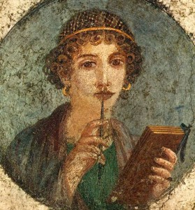 Fresco from Pompeii thought to be the poet Sappho