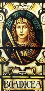 Boudica in stained glass.